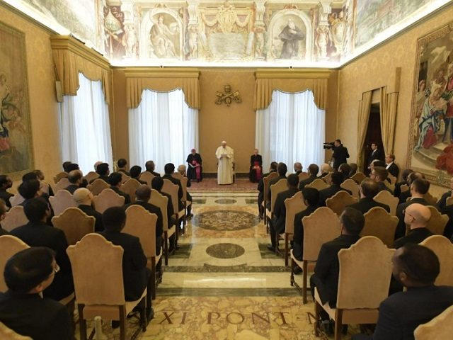 Pope Francis addresses Jesuits in the Vatican.