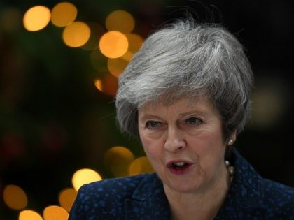 LONDON, ENGLAND - DECEMBER 12: Prime Minister Theresa May makes a statement in Downing Street after it was announced that she will face a vote of no confidence, to take place tonight, on December 12, 2018 in London, England. Sir Graham Brady, the chairman of the 1922 Committee, has received …