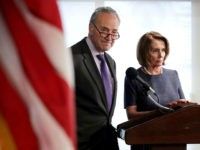 Senate Minority Leader Charles Schumer (D-NY) (L) and House Minority Leader Nancy Pelosi (D-CA) deliver a 'prebuttal' to President Donald Trump's upcoming address to a joint session of Congress at the National Press Club February 27, 2017 in Washington, DC. Trump has been invited by Speaker of the House Paul …