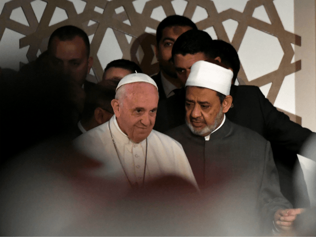 Pope Francis (L) meets with Sheikh Ahmed al-Tayeb, the Grand Imam of Al-Azhar, during a visit to the prestigious Sunni institution in Cairo on April 28, 2017. Pope Francis began a visit to Egypt to promote 'unity and fraternity' among Muslims and the embattled Christian minority that has suffered a …