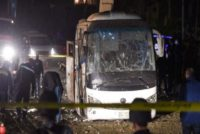 The scene of an attack on a tourist bus in Giza province south of the Egyptian capital Cairo.