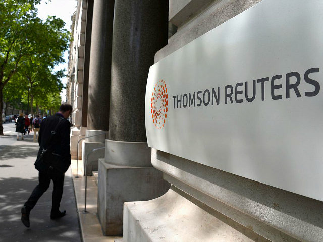 PARIS, FRANCE - MAY 05: The corporate logo of Thomson Reuters is seen on May 5, 2014 in Paris, France. (Photo by Pascal Le Segretain/Getty Images)