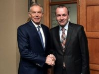 WICKLOW, IRELAND - MAY 12: Former British Prime Minister Tony Blair (L) is greeted by EPP Group Chairman Manfred Weber (R) as he arrives for the European People's Party Group Bureau meeting at Druids Glen on May 12, 2017 in Wicklow, Ireland. Brexit and negotiating objectives will top the agenda …