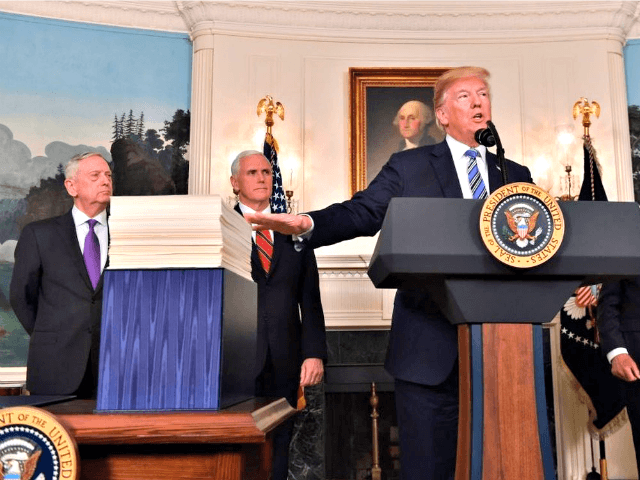 President Donald Trump speaks about the spending bill during a March 23, 2018, press conference in the Diplomatic Reception Room at the White House.