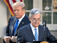 President Donald Trump looks on Jerome Powell, then his nominee for Federal Reserve chairman, takes to the podium during a press event in the Rose Garden on Nov. 2, 2017.