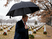 Donald Trump Visits 'Wreaths Across America' Volunteers at Arlington Cemetery