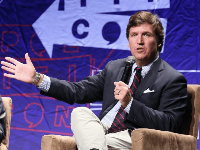 LOS ANGELES, CA - OCTOBER 21: Tucker Carlson speaks onstage during Politicon 2018 at Los Angeles Convention Center on October 21, 2018 in Los Angeles, California. (Photo by Phillip Faraone/Getty Images for Politicon )
