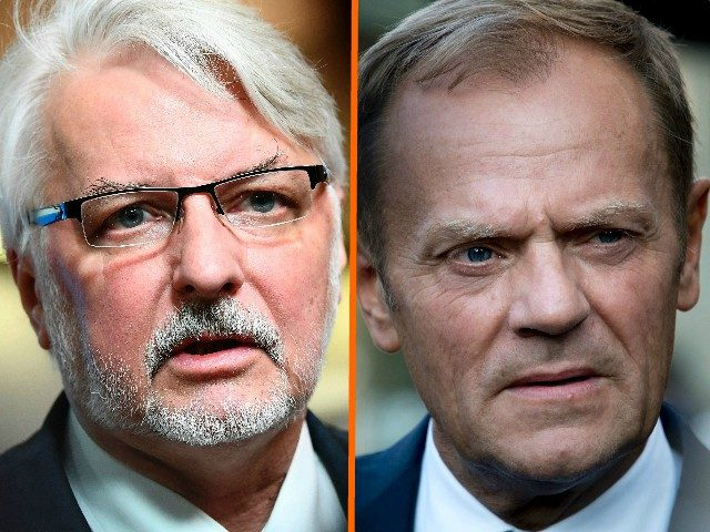 (COMBO) This combination of file pictures created on March 12, 2017 shows European Council President Donald Tusk (L, September 15, 2016 in Bratislava) and Poland's Foreign Minister Witold Waszczykowski (March 6, 2017 in Brussels). Regarding the re-election of Tusk as EU President, Waszczykowski accused the policy of the European Union …