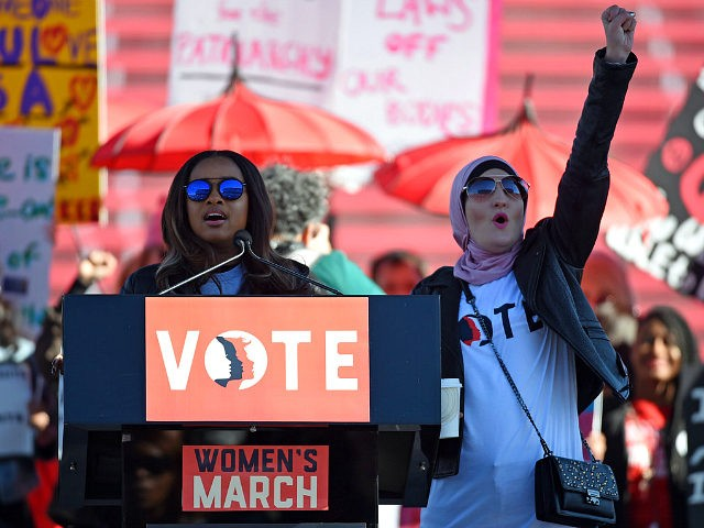 LAS VEGAS, NV - JANUARY 21: Women's March Co-Chairwomen Tamika D. Mallory (L) and Linda Sarsour speak during the Women's March 'Power to the Polls' voter registration tour launch at Sam Boyd Stadium on January 21, 2018 in Las Vegas, Nevada. Demonstrators across the nation gathered over the weekend, one …