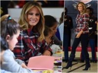 Fashion Notes: Melania Trump Brings Gifts to Children in Christmas Plaid
