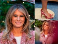 Fashion Notes: Melania Trump Visits Children's Hospital in Candy Cane Red Stilettos, Oversized Coat
