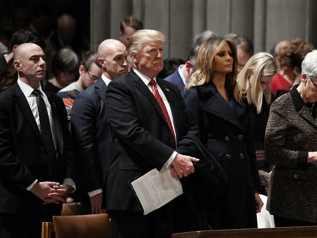 WASHINGTON, DC - DECEMBER 24: U.S. President Donald Trump and first lady Melania Trump attend Christmas Eve services at the National Cathedral on December 24, 2018 in Washington, D.C. (Photo by Olivier Douliery - Pool/Getty Images)