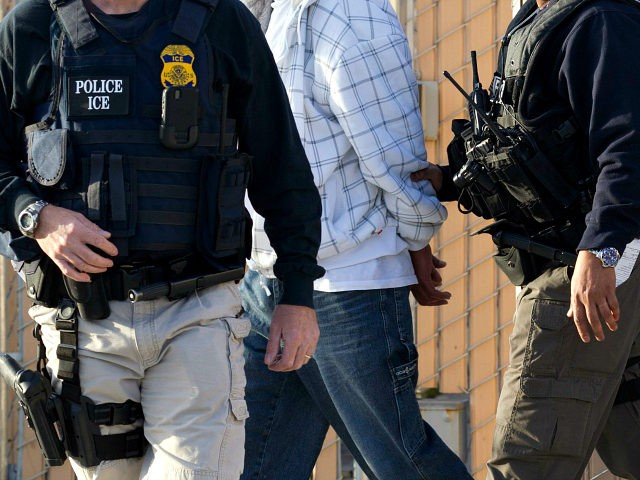In this March 30, 2012 photo, Immigration and Customs Enforcement (ICE) agents take a suspect into custody as part of a nationwide immigration sweep in Chula Vista, Calif. Federal officials say they arrested more than 3,100 immigrants convicted of serious crimes and fugitives in a six-day nationwide sweep. Officials at …