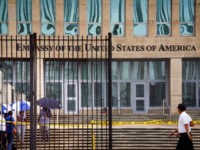 Picture of the US embassy in Havana, taken on September 29, 2017 after the United States announced it is withdrawing more than half its personnel in response to mysterious health attacks targeting its diplomatic staff. Secretary of State Rex Tillerson said Washington would maintain relations with Havana -- which were …