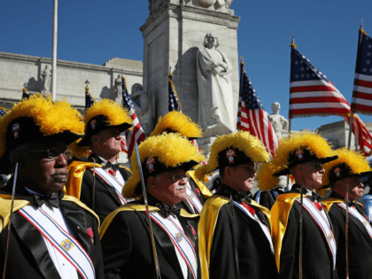 Members of the Knights of Columbus participate in a Columbus Day ceremony at the National Columbus Memorial in front of Union Station, October 10, 2016 in Washington, DC. Columbus Day celebrates Christopher Columbus' arrival in the Americas on October 12, 1492. (Photo by Mark Wilson/Getty Images)