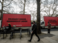 LONDON, ENGLAND - APRIL 17: A convoy of billboard vans with messages against anti-semitism in the Labour Party are driven around Westminster on February 21, 2018 in London, England. (Photo by Jack Taylor/Getty Images)