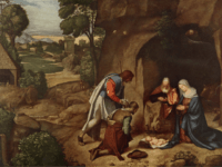 Circa 4 BC, The shepherds kneeling before the newly born Jesus Christ and Mary and Joseph in the stable at Bethlehem. Original Artwork: 'The Adoration of the Shepherds' by Giorgione (Photo by Hulton Archive/Getty Images)