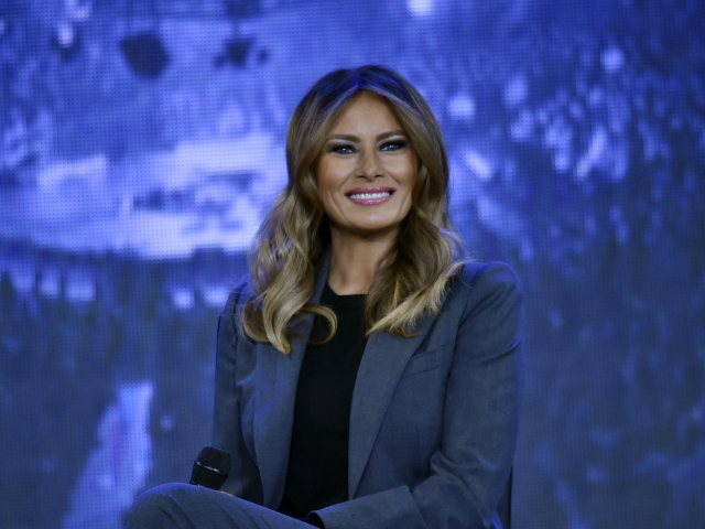 First Lady Melania Trump participates in a town hall meeting on opioids at Liberty University in Lynchburg, Virginia on November 28, 2018. (Photo by Nicholas Kamm / AFP) (Photo credit should read NICHOLAS KAMM/AFP/Getty Images)