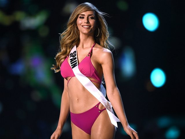 Angela Ponce of Spain competes in the swimsuit competition during the 2018 Miss Universe pageant in Bangkok on December 13, 2018. (Photo by Lillian SUWANRUMPHA / AFP) (Photo credit should read LILLIAN SUWANRUMPHA/AFP/Getty Images)