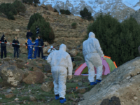 An image grab taken from a video broadcast in Morocco's news channel 2M on December 18, 2018 shows police officers next to a tent at the scene of a crime where the bodies of two Scandinavian women were found the day before in an isolated mountainous area 10 kilometres (six …