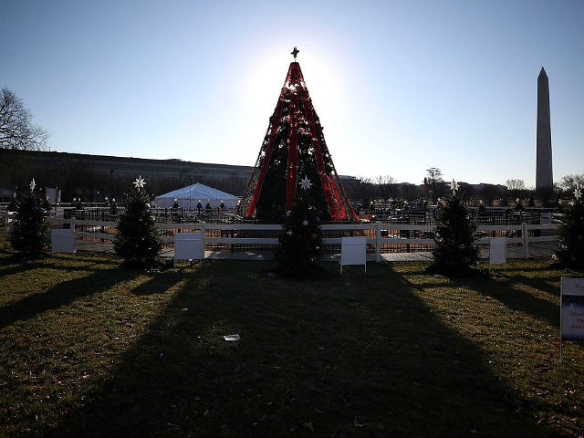 WASHINGTON, DC - DECEMBER 23: The National Christmas Tree is currently closed to the public due to a partial shutdown of the federal government, on December 23, 2018 in Washington, DC. The partial shutdown will continue for at least a few more days as lawmakers head home for the holidays …