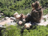 PUNGGYE-RI, NORTH KOREA - MAY 24: (SOUTH KOREA OUT) In this handout image provided by the News1-Dong-A Ilbo, the Punggye-ri nuclear test site is demolished on May 24, 2018 in Punggye-ri, North Korea. North Korea dismantled their nuclear testing facility at Punggye-ri in front of the international media. (Photo by …
