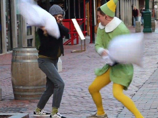 WATCH: Firefighter Starts Pillow Fight Challenge Dressed as 'Buddy the Elf'