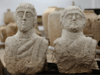 A picture taken at the Israel Antiquities Authority (IAA) laboratories in Jerusalem on December 30, 2018, shows a limestone busts that the IAA dated to the late Roman period, some 1,700 years ago. - An Israeli woman walking near ancient ruins noticed a head sticking out of the ground, leading …
