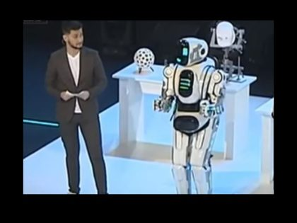 "A ""hi-tech robot"" shown on Russian state television has turned out to be a man in a suit."