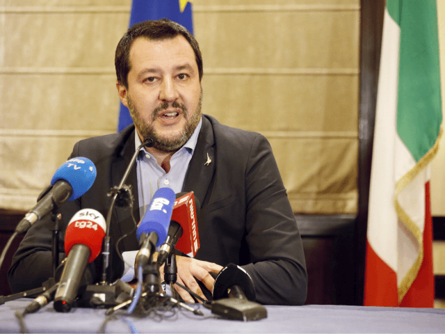 Italian Interior Minister Matteo Salvini speaks during a press conferences at the King David Hotel in Jerusalem, Tuesday, Dec. 11, 2018. (AP Photo/Ariel Schalit)