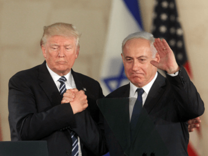 US President Donald Trump (L) and Israel's Prime Minister Benjamin Netanyahu wave after delivering a speech at the Israel Museum in Jerusalem on May 23, 2017. / AFP PHOTO / GIL COHEN-MAGEN (Photo credit should read GIL COHEN-MAGEN/AFP/Getty Images)
