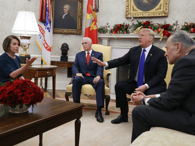 President Donald Trump (2R) argues about border security with Senate Minority Leader Chuck Schumer (D-NY) (R) and House Minority Leader Nancy Pelosi (D-CA) as Vice President Mike Pence sits nearby in the Oval Office on December 11, 2018 in Washington, DC. (Photo by Mark Wilson/Getty Images)