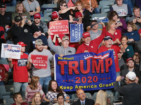 Supporters attend a campaign rally with U.S. President Donald Trump at the Mid-America Center on October 9, 2018 in Council Bluffs. Iowa The rally is one of several Trump has scheduled recently in support of Republican candidates running in the upcoming midterm election. (Photo by Scott Olson/Getty Images)