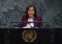 """We are bearing the torch for those vulnerable to climate change,"" Marshall Islands President Hilda Heine told the COP24 in Katowice, Poland. She is shown here addressing the UN General Assembly in September"