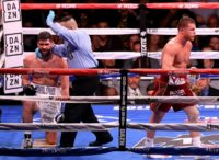 Saul 'Canelo' Alvarez reacts after a technical knockout victory over Rocky Fielding in their WBA super-middleweight title bout at Madison Square Garden