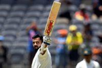 Virat Kohli celebrates his 25th Test century and sixth in Australia in Perth