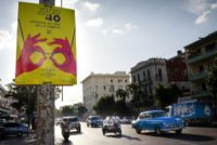 A poster announcing Havana's 40th film festival, where a Colombian crime movie was awarded the top prize on December 14, 2018