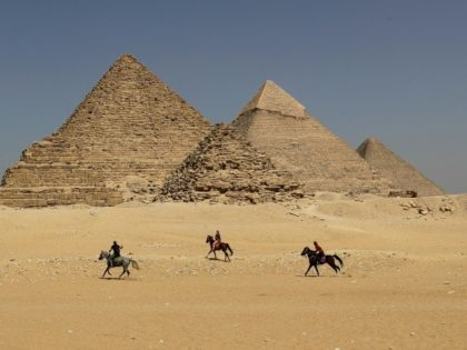 The Giza pyramids on the outskirts of Cairo