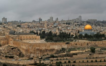 A picture taken from the Mount of Olives shows the Old City of Jerusalem on December 7, 2018