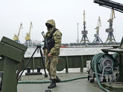 A Ukrainian serviceman stands on board a coast guard ship in the Sea of Azov port of Mariupol, eastern Ukraine, Monday, Dec. 3, 2018. The Ukrainian military has been on increased readiness as part of martial law introduced in the country in the wake of the Nov. 25, 2018 incident …
