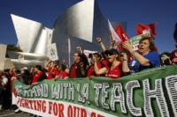 Thousands of teachers march in Los Angeles as strike looms