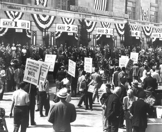 Strike of television workers during Republican Convention in Philadelphia, June 21, 1948. (Harry S. Truman Library)