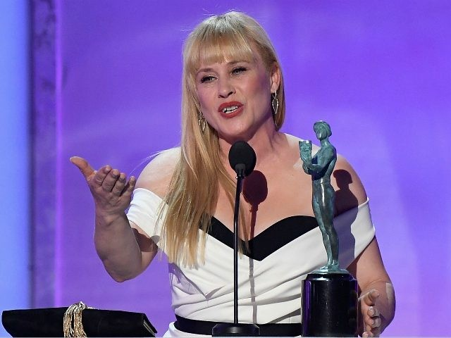 LOS ANGELES, CA - JANUARY 27: Winner of Outstanding Performance by a Female Actor in a Television Movie or Miniseries, Patricia Arquette speaks onstage during the 25th Annual Screen Actors Guild Awards at The Shrine Auditorium on January 27, 2019 in Los Angeles, California. (Photo by Kevork Djansezian/Getty Images)