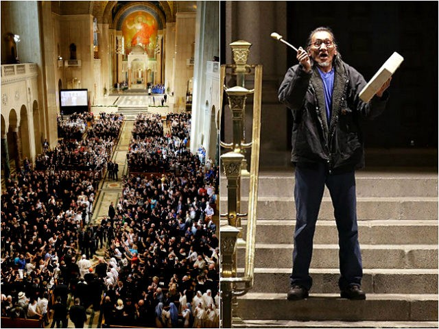 Basilica of the National Shrine of the Immaculate Conception in Washington, DC, and Native American activist Nathan Phillips