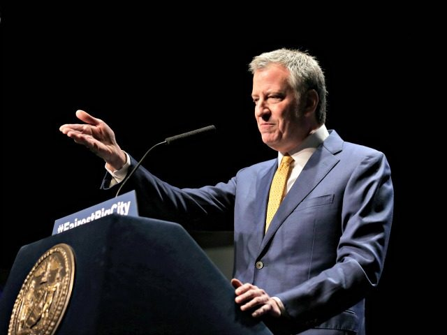 New York City Mayor Bill de Blasio speaks at his State of the City address in New York, Thursday, Jan. 10, 2019. De Blasio said he would create a city-managed retirement fund for workers who lack access to employer-sponsored funds as well as a new Office to Protect Tenants.