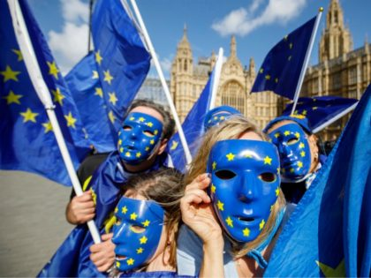 Pro-European Union demonstrators protest outside the Houses of Parliament in central London against the first vote today on a bill to end Britain's membership of the EU on September 11, 2017. - MPs hold their first vote today on a bill to end Britain's membership of the EU, which ministers …