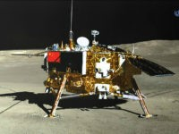 This picture released on January 11, 2019 by the China National Space Administration (CNSA) via CNS shows the Chang'e-4 lunar probe, taken by the Yutu-2 moon rover, on the far side of the moon. - China will seek to establish an international lunar base one day, possibly using 3D printing …