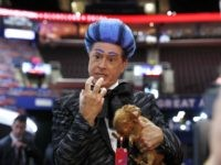 Talk show host Stephen Colbert performs on the floor of the Republican National Convention at Quicken Loans Arena during a taping of his program, Sunday, July 17, 2016, in Cleveland. (AP Photo/Carolyn Kaster)