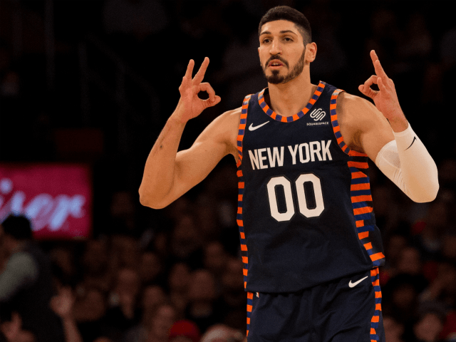 NEW YORK, NY - DECEMBER 25: Enes Kanter #00 of the New York Knicks celebrates after hitting a three-point basket against the Milwaukee Bucks at Madison Square Garden on December 25, 2018 in New York City. NOTE TO USER: User expressly acknowledges and agrees that, by downloading and or using …