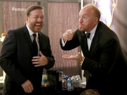 IMAGE DISTRIBUTED FOR THE TELEVISION ACADEMY - EXCLUSIVE - Ricky Gervais, left, and Louis C.K. speaks backstage in the green room at the 66th Primetime Emmy Awards at the Nokia Theatre L.A. Live on Monday, Aug. 25, 2014, in Los Angeles. (Photo by Danny Moloshok/Invision for the Television Academy/AP Images)